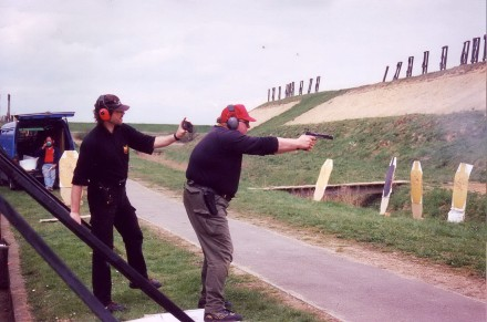 Friends practising their shooting in Kent. We used to be able to do this. Now Olympic, Commonwealth and other shooters have to travel abroad.