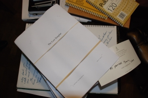 Proof manuscripts and assorted notepads. The lifeblood of the author!