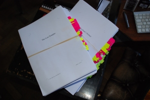 The three manuscripts, completed, with post-it notes to show the corrections. A lot of work!