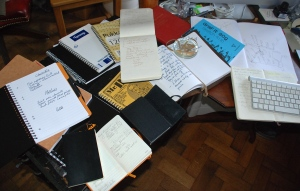 A few of my notepads. Can an author ever have too much paper?