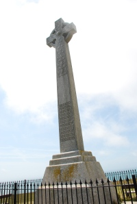 The Tennyson Monument at the top of his favourite down near his home on the Isle of Wight