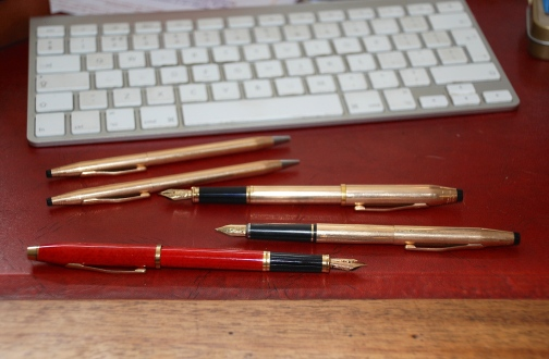 My Cross pens - even a biro (never used) and pencil (rarely). I'm more likely to grab a Tombow pencil now, fitted into my Graf von Faber Castell Perfect Pencil.