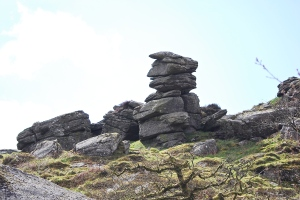 The stone outcrop at Hound Tor. The village was deserted because of the famine