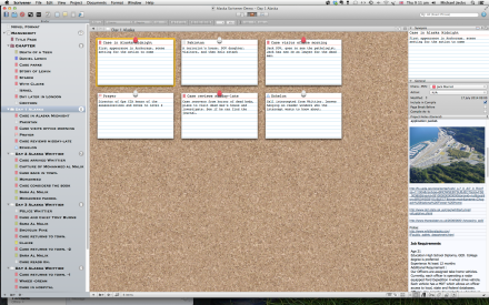 A standard screen to show how the record cards are displayed on the cork board.