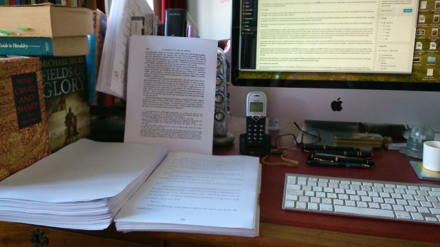 Working on the latest novel. Last week average: 14 hours each day.