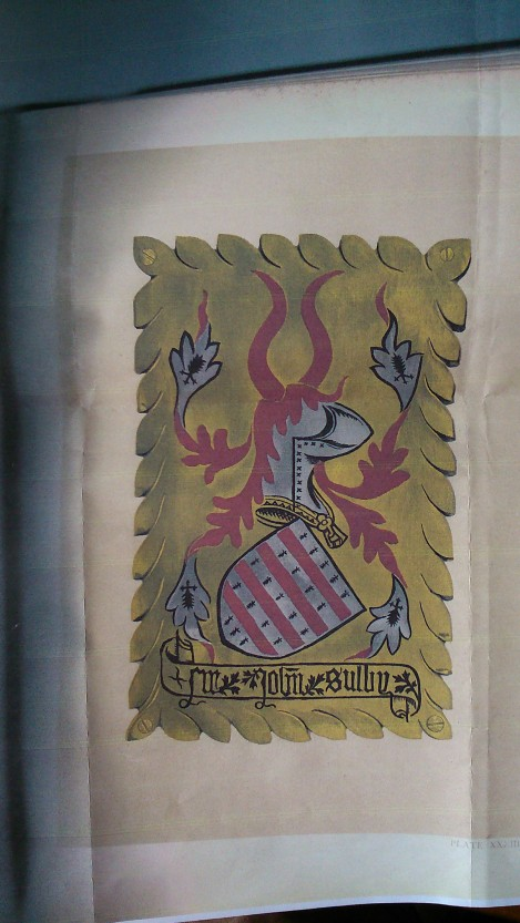 Sir John de Sully's arms from St George's Chapel, Windsor, where they stand at his stall for the Order of the Garter (photocopy courtesy of the Lancaster Herald, College of Arms)