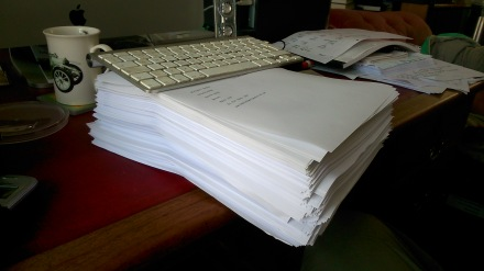 This is what a 580 page novel at the edit stage looks like!