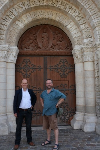 Ian Mortimer and I outside the great doors to the church