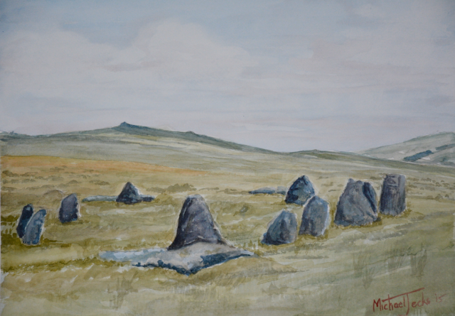 Painting of Nine Maidens near Belstone.
