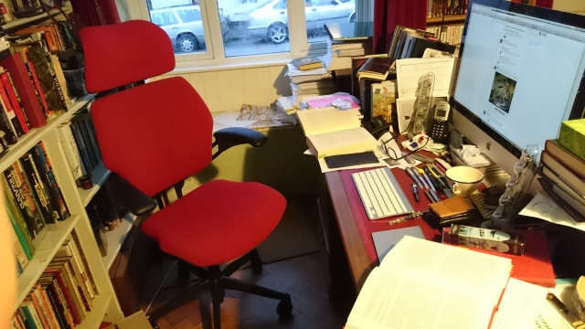 "Working hard with my new ""tidy desk"" policy ..."